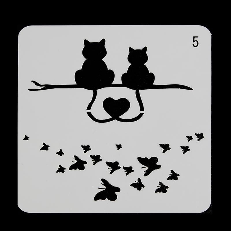 Cats Butterfly Layering Stencils For Walls Painting Scrapbooking Stamping Stamps Album Decorative Embossing Paper Cards cutiepie kinds of 0 9 numbers transparent clear stamps for scrapbooking diy silicone seals photo album embossing folder stencils