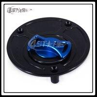 CNC Blue Black Gas Fuel Tank Cap Cover For FZ1 FZ6 FZR750 FZR1000 R1 R6 YSR50 YZF600 YZF1000 Motorcycle Supermoto Free Shipping