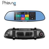 Phisung 7.0in 3G Araba DVR video ayna Android GPS FHD 1080 P araba otomobil Dvr'lerle Bluetooth WIFI araç kamera dvr video kaydedici