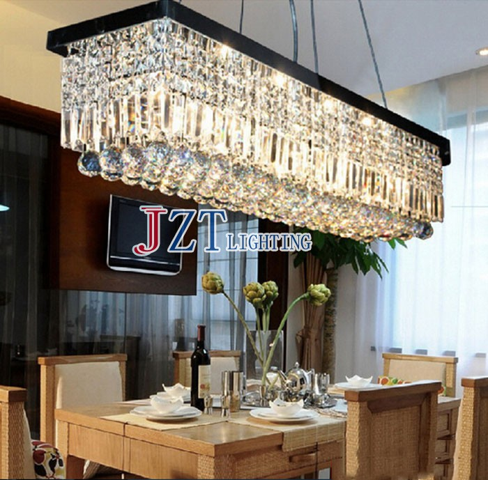 T Hot High Quality Crystal Chandeliers Rectangle K9 Crystal Ceiling Lighting Fixtures E14 Modern Restaurant LED