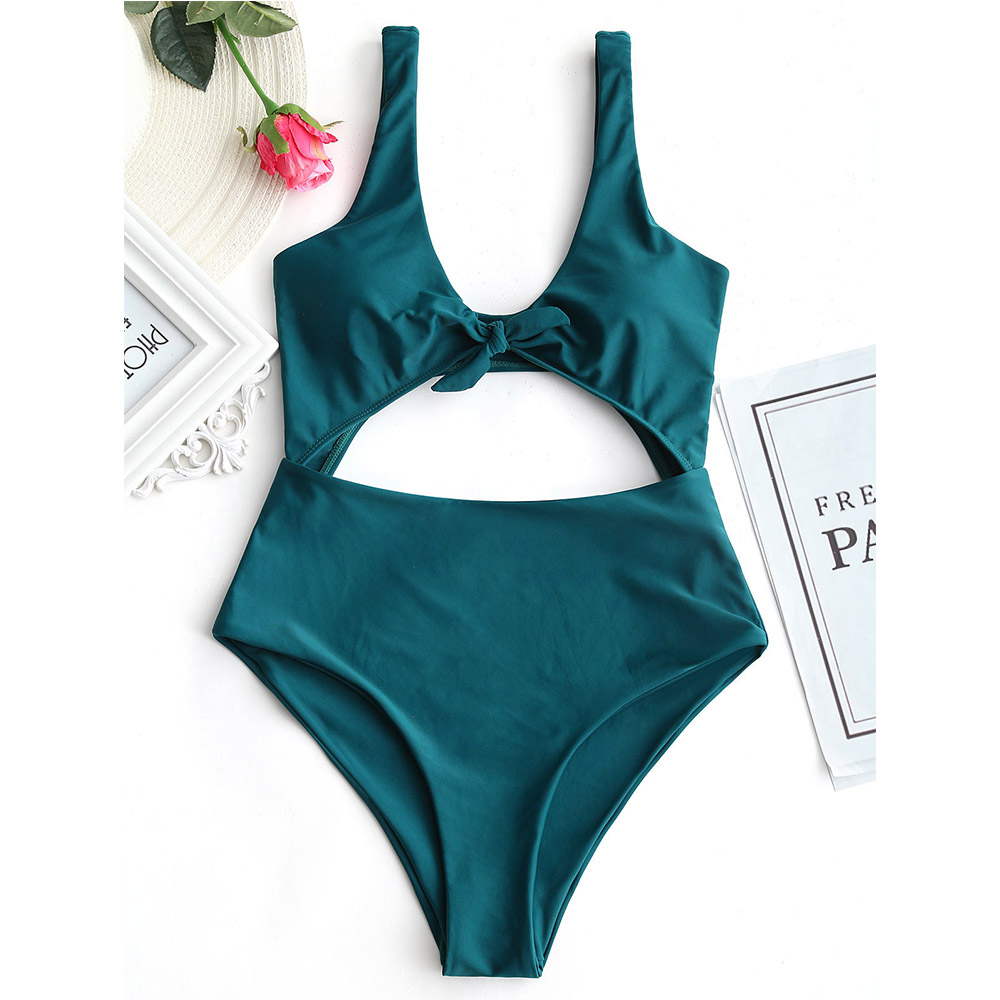 One Piece Swimsuit Front Cut Out Bodysuit High Waist Women Sexy Swimwear Beach Wear Bathing Suit Monokini Maillot De Bain