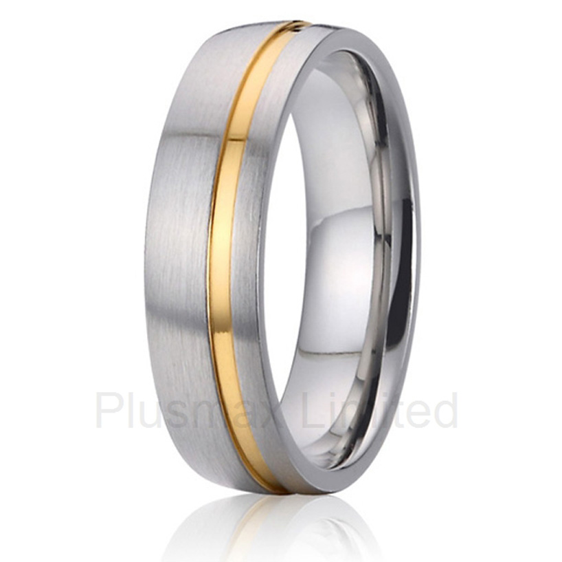 Anneau de doigt de bande de mariage de bijoux de titane de couleur d'or de vendeur de bijoux de la chine