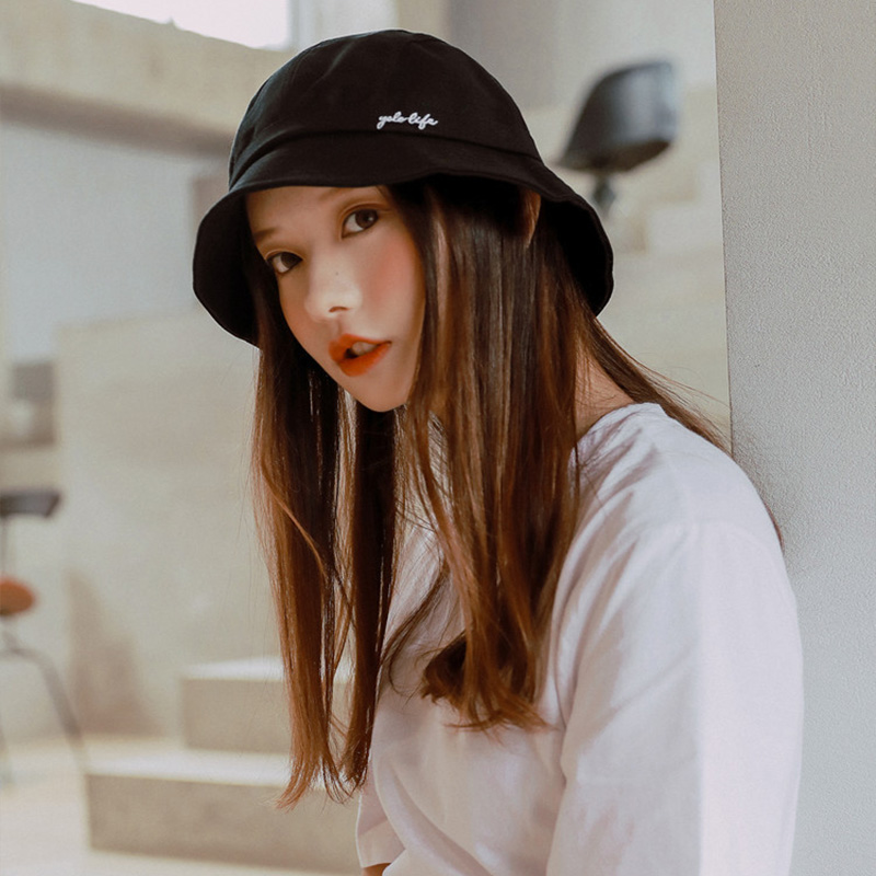 2019 New Summer Bucket Hat Women Hip Hop Caps Gorros Embroidery Letter Men Fishing Cap Unisex Casual Flat Cotton