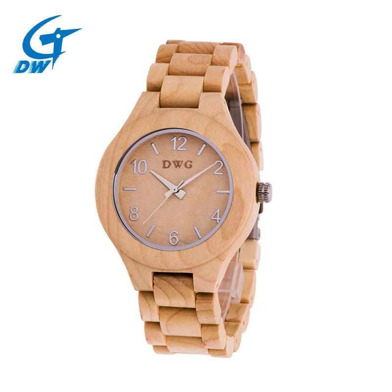 DWG Fashion Wooden Wristwatch Women's Watch Simple Digit Dial  Wood Color High Quality Quartz Movement paper box for Ladies Hour newest color of bamboo wood watch for women fashion tiangle wooden wristwatch for gifts quartz clock in a box
