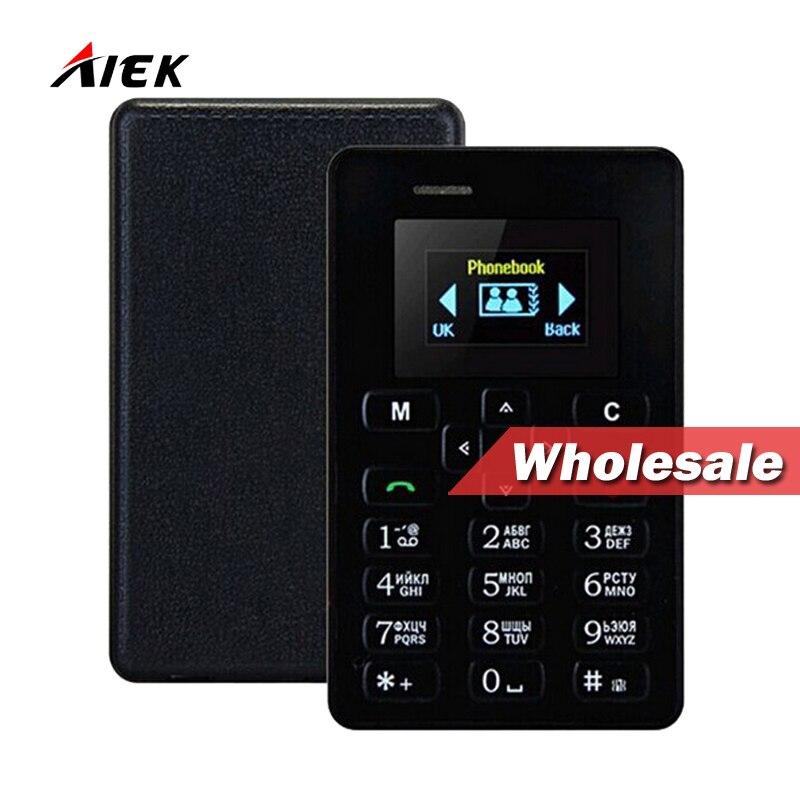 bilder für 10 STÜCK Großhandel! Ultra Thin AIEK M5 Karte Telefon 4,5mm Mini Tasche Mobile AEKU Kreditkarte Telefon Russische arabisch Englisch Tastatur