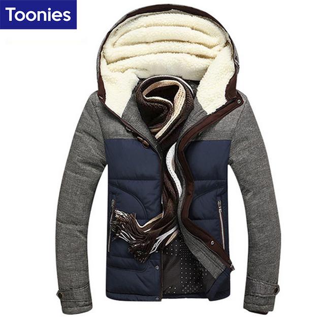 À moda de Inverno Homens Jaqueta Casaco Parka Doudoune Hiver Homme Marque Homme Nova Moda Marca-roupas Com Capuz Quente Winterjas Heren