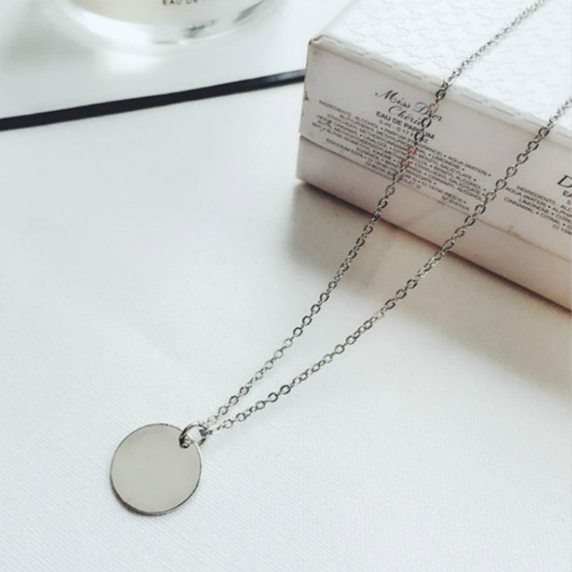 Punk Silver Gold Color Coin Necklace Dainty Disc Pendant Necklace Minimalist Gold Coin Layering Necklace Everyday Jewelry 3