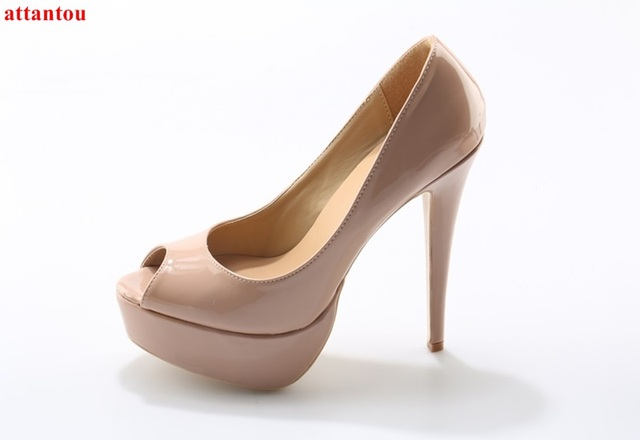 43cb31dc8 HOT Fashion peep toe nude color high heels woman dress shoes thin heel  female pumps slip-on wedding party shoes platform heels