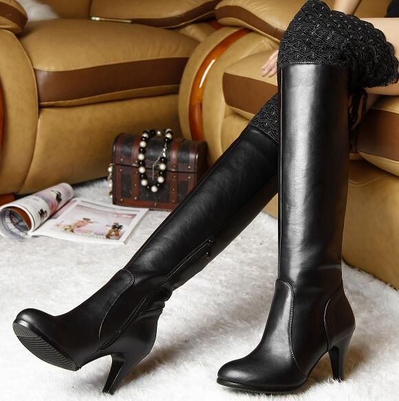 Women Winter Thin High Heel Genuine Leather Side Zipper Round Toe Fashion Over The Knee Boots Plus Size 33-45 SXQ1007 women winter genuine leather low heel rivets pointed toe side zipper fashion over the knee boots plus size 33 43 sxq1013