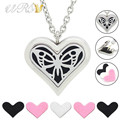 free chain and felt pads! 35mm stainless steel large heart essential oil diffusing necklace big butterfly aromatherapy pendant