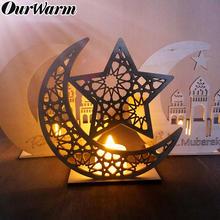 OurWarm Ramadan Wooden Eid Mubarak Decoration For Home Moon Islam Mosque Muslim Hanging Pendant Festival Party Supplies