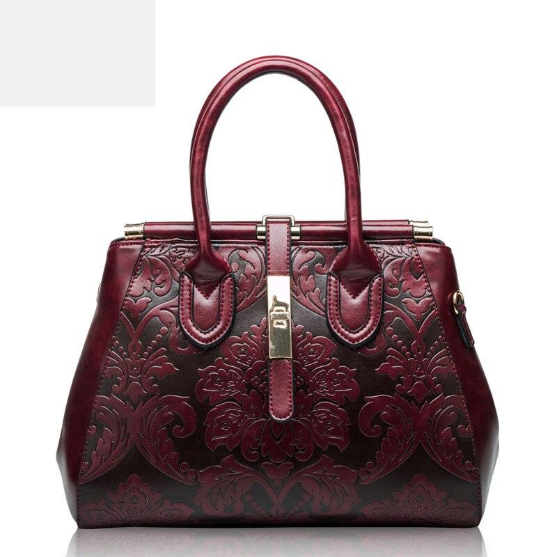 Elegant Genuine leather handbags women famous brands Calfskin Elegant three-dimensional embossed flowers women bag elegant embossed rhinestone bracelet for women