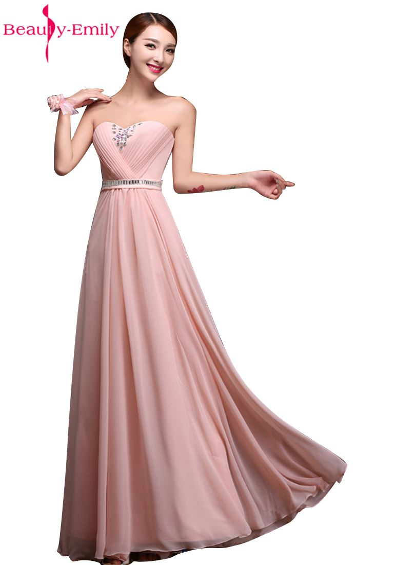 Beauty Emily Hot Selling Pink Bridesmaid Dresses 2019 Chiffon Vestidos De Festa Longo Gowns Party Wedding Elegant Floor Length in Bridesmaid Dresses from Weddings Events