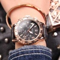 GUOU Fashion Brand Calendar Gold Luxury Top Quality Watch Waterproof Man Ladies Gift Quartz Sports Watch