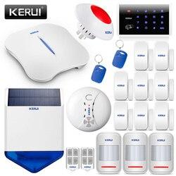 KERUI W1 Wireless Inglese Voice PSTN 2.4G WiFi Sistema di Allarme di Sicurezza Domestica Con Rilevatore di Fumo Rilevatore di Movimento Sensore Porta Solare sirena