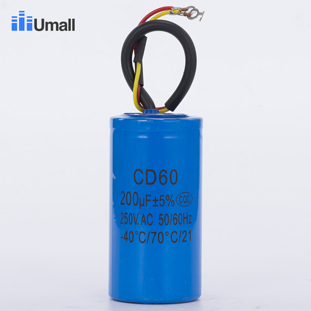 Staring capacitor two wires cd60 200uf 250v heavy duty for Electric motor starting capacitor