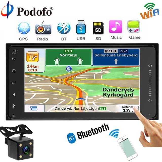 "podofo car radio gps navigation player touch autoradio wifipodofo car radio gps navigation player touch autoradio wifi bluetooth mp5 fm usb 7\""hd 2 din car audio backup camera for toyota"