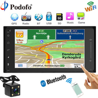 Podofo Car Radio GPS Navigation Player Touch Autoradio Wifi Bluetooth MP5 FM USB 7HD 2 Din Car Audio Backup Camera for Toyota