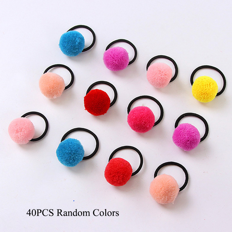 40PCS/Lot Wholesale New Winter Cute Colorful Pompon Ball Girls Elastic Hair Bands Ponytail Holder Rubber Bands Hair Accessories 20pcs lot new colorful mink hair black elastic hair bands girls tie ponytail holder hair ropes kids headbands hair accessories