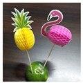 Фламинго вечерние стерео ананас Фламинго фрукты зубочистки цветок знак Свадебные украшения праздничное украшение для дня рождения вечерние декор. B - фото