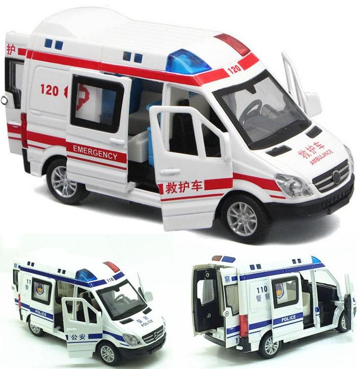 Car-Model Ambulance Police Diecast Rescue Pull-Back Sound-Light Children Toys Metal 1:32