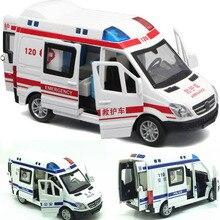 1:32, больничная скорая помощь, полиция, литая под давлением металлическая модель автомобиля с вытягивающимся назад звуковым светом для детей, игрушки, подарки