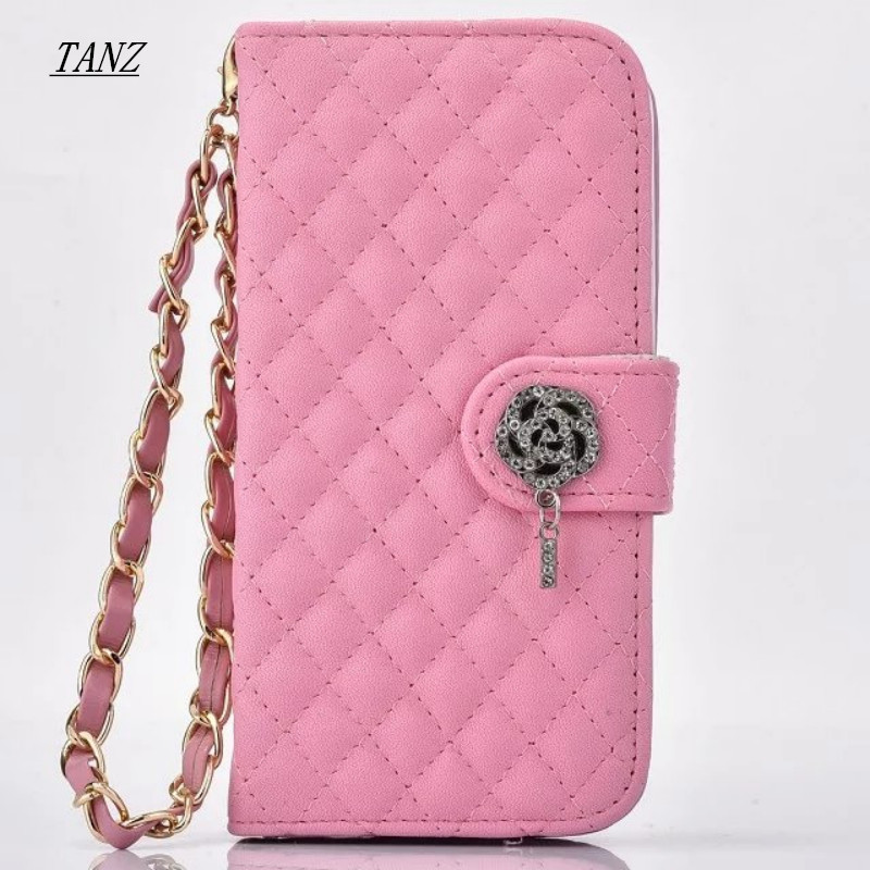 TANZ Luxury Leather Flip Cover Wallet Case For Samsung Galaxy S3 S4 S5 mini S7 S6 edge Note 3 4 5 Elegant Ms. Phone Case Chain