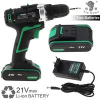 100 240V Cordless 21V Plus Electric Drill with 2 Lithium Batteries and Rotation Adjustment Switch for Punching/Handling Screws