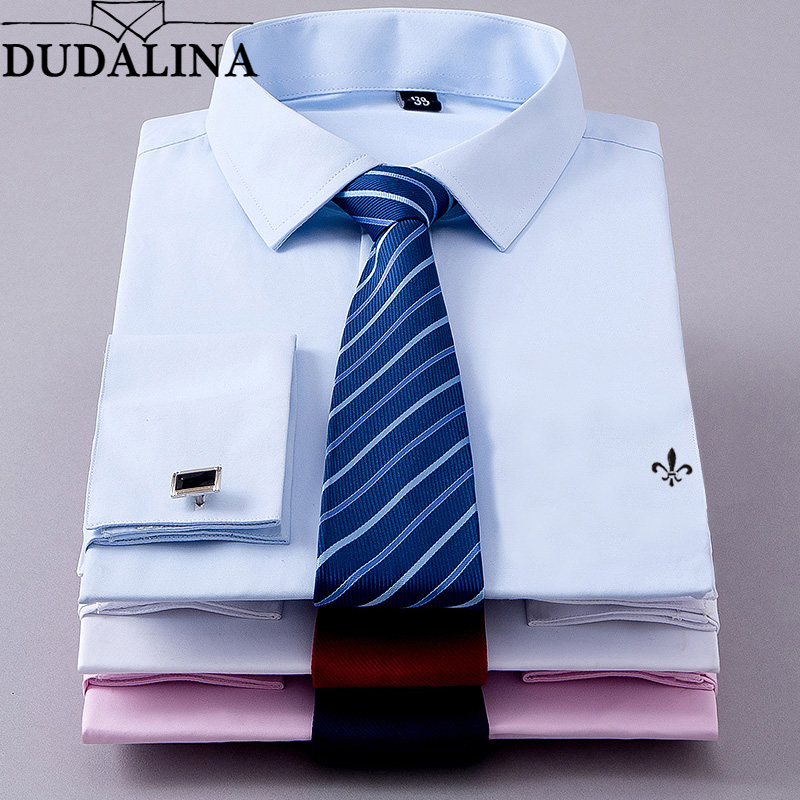 Dudalina Recommend Quality France Cufflink Men Dress Shirts Turndown Collar Breathable Slim Fit Party Wedding Male Tuxedo Shirts