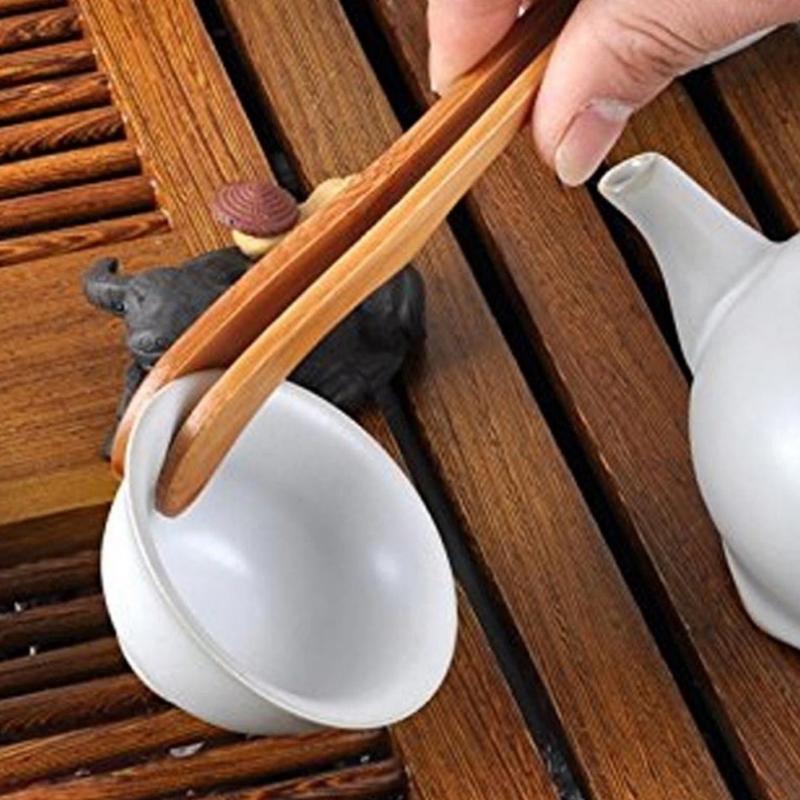 New Wooden Tea Tweezer Bacon Tea Clip Tongs Bamboo Kitchen Salad Food Toast