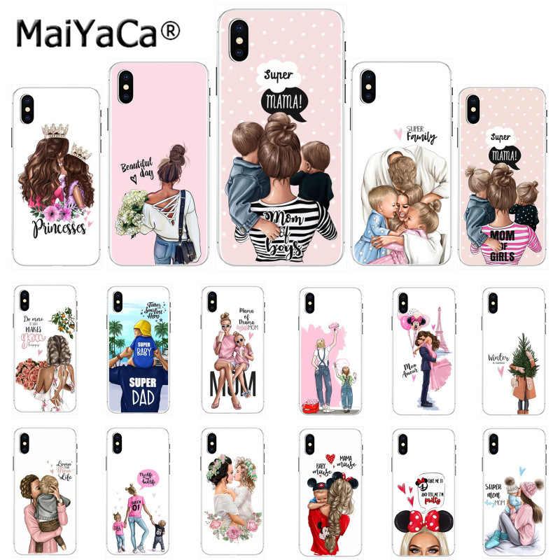 Maiyaca fille reine maman et bébé bricolage peint belle coque de téléphone pour Apple iphone 11 pro 8 7 66S Plus X XS MAX 5S SE XR cas