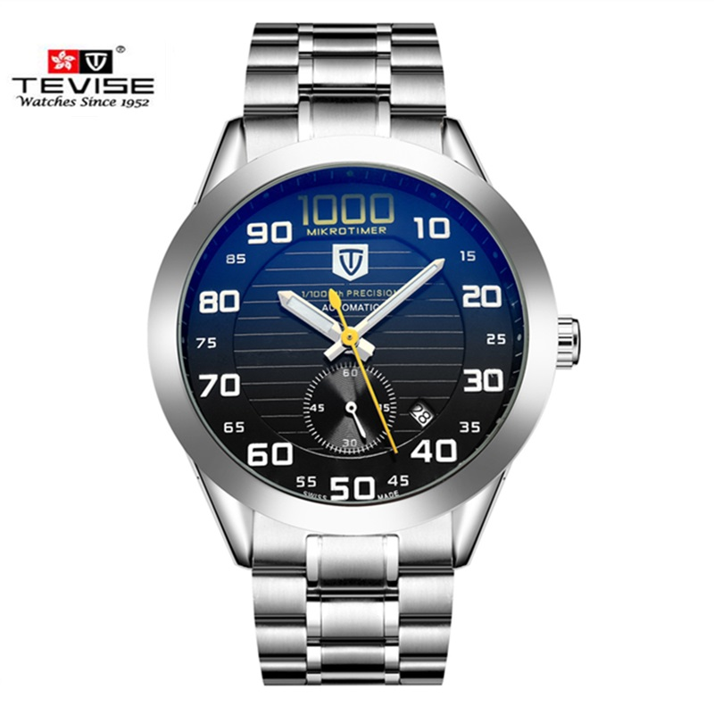 Mens Watches Top Brand Luxury TEVISE Automatic Mechanical Watch Waterproof Discolored Glass Steel Watch Clock Relogio