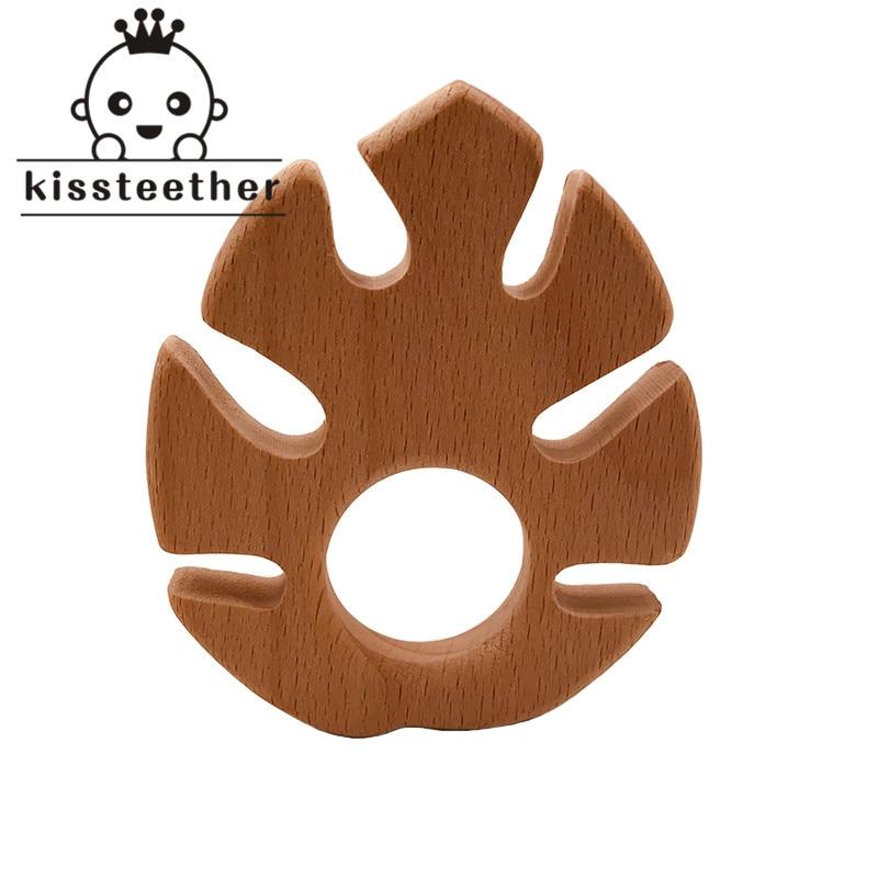 Baby Nursing Teether Accessories Beech Wood Banana Leaf Food Grade Sensory Toy DIY Teething Jewelry Pendant Baby Teether