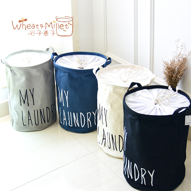 New trade zakka cotton cloth storage Laundry bucket bedroom Natural ...