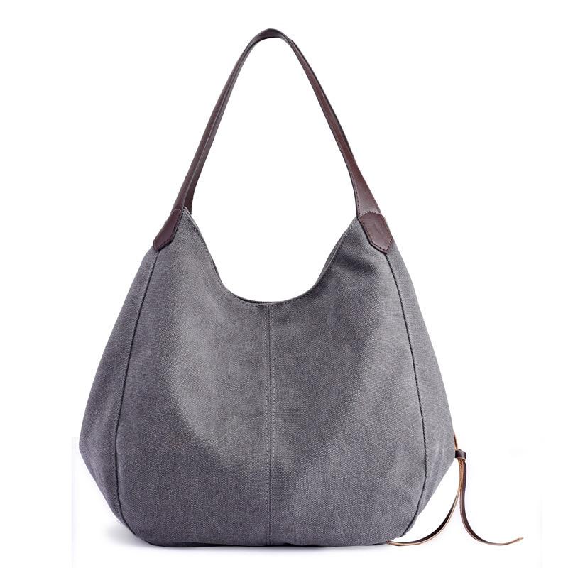 Womens Canvas Handbags High Quality Female Hobos Single Shoulder Bags Vintage Solid Multi-pocket Ladies Totes Bolsas