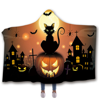 Anti Samely Scarves & Wraps Hooded Blanket 3D Print Halloween hooded poncho scarf shawl manteau femme hiver