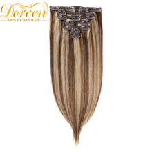 Doreen Clip In Human Hair Extensions Mix Color #P8/613 Brazilian Remy Straight  Hair 70G 7 Pecs 14-22 Inches Could be Curly