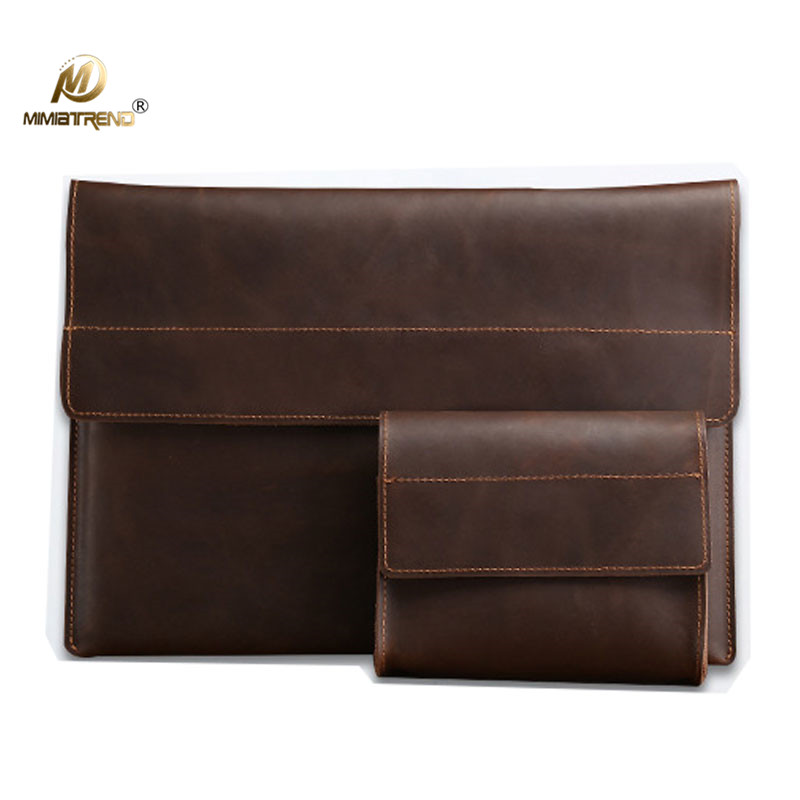 Mimiatrend For New Macbook Pro 13 15 inch Case Genuine Leather Slim Sleeve for Macbook Air 13 Laptop with Mouse Charger Pouch arrival selling ultra thin super slim sleeve pouch cover genuine leather laptop sleeve case for macbook pro 13 15 2016 2017