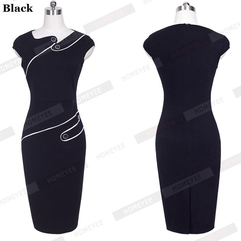Black Dress Tunic Women Formal Work Office Sheath Patchwork Line Asymmetrical Neck Knee Length Plus Size Pencil Dress B63 B231 15
