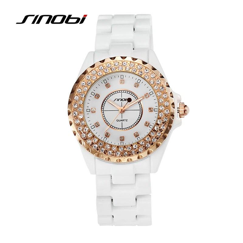 SINOBI Women s Ceramics Wrist Quartz Watch with Diamond Rose Gold Case Ladies Fashion Watches Female