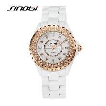 Sinobi femmes de céramique poignet quartz montre avec diamant rose boîtier en or dames de mode montres femme blanc montres rondes