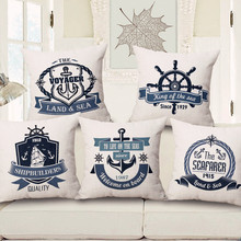 KYYZROZZZ Mediterranean maritime sign home textile throw pillow case cotton linen cushion cover for sofa home bedroom cojines