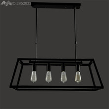 American Country Retro Pendant Lights Dining Room Cafe Shop Bar Table Bedroom Black Edison Acrylic Box Four Heads Lamps Fixtures(China)