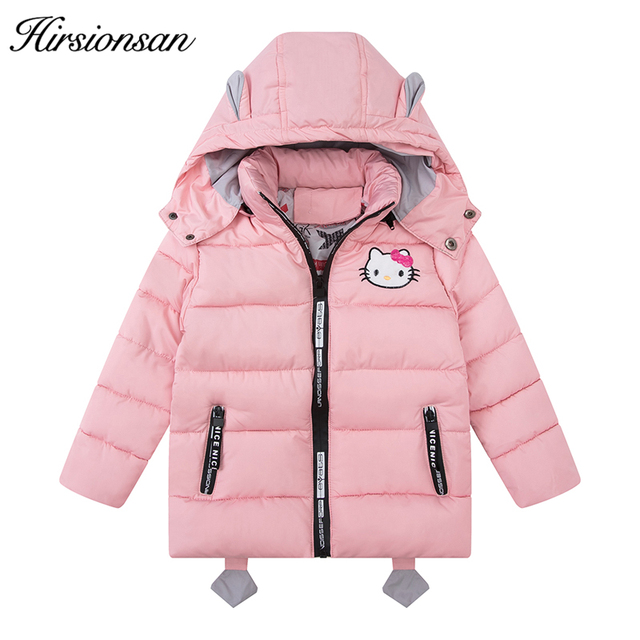 Hirsionsan Winter Jackets for Girls 2017 Cute Little Kitten Winter Coat  Creative with Backpack Warm Thick Baby Clothes 4b0e7f3b7bd5d