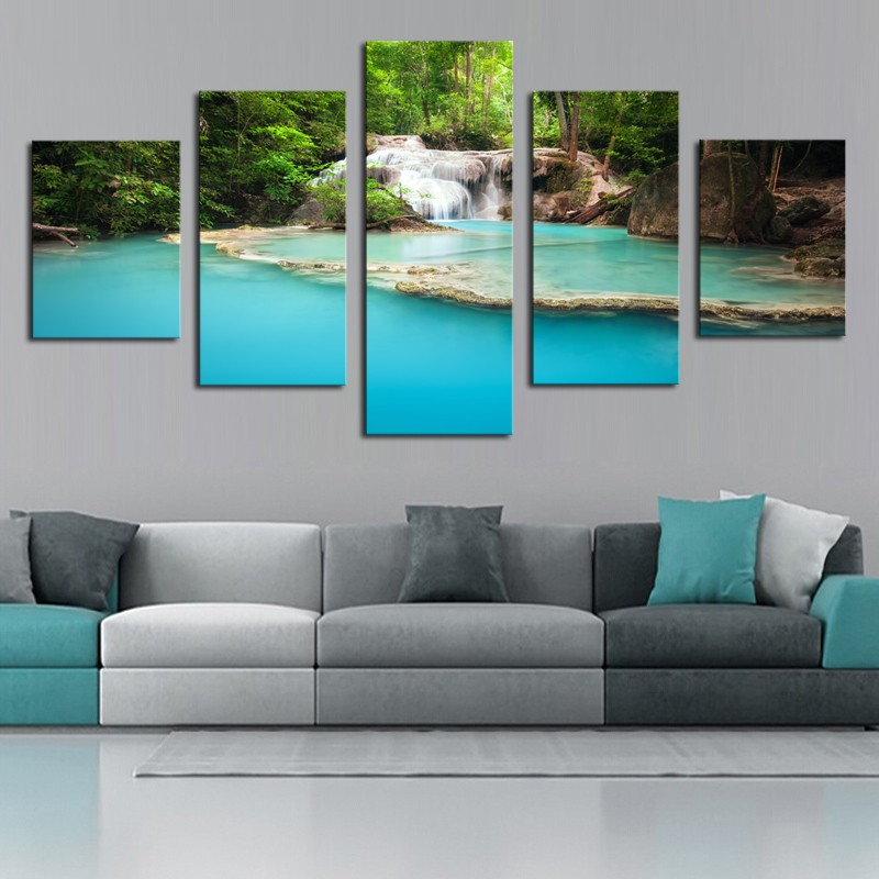 5 Panel Modern Prints Green Hills Water Landscape Painting Wall Art Home Decoration Picture For Living Room framed