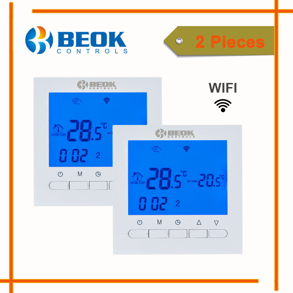 2 Pcs BEOK BOT 313 WIFI Gas Boiler Thermostat 230 Voltage Blue Backlight Boiler Heating Temperature