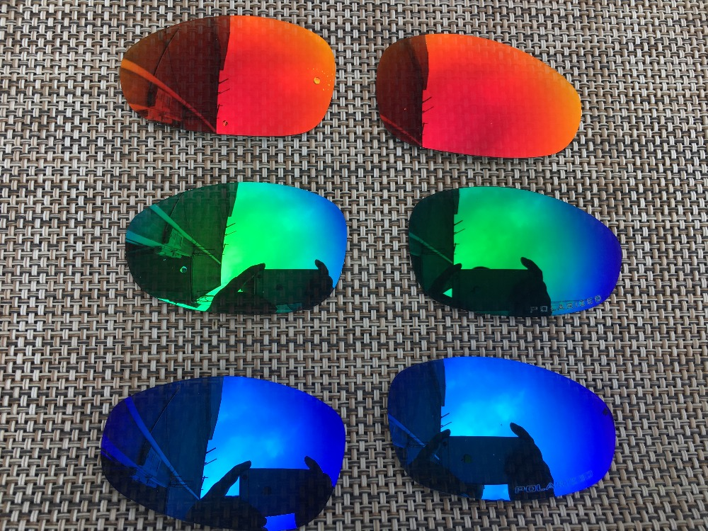 67ad5d5d91 3 Pairs Fire Red   Ice Blue   Jade Green Polarized Replacement Lenses Lens  for Juliet Sunglasses