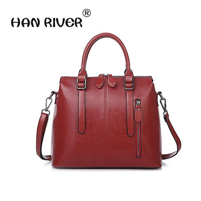 New 2018 Fashion Brand Genuine leather Women Handbag Europe and America Oil Wax Leather Shoulder Bag Casual Women Bag повседневные брюки tide brand in europe and america d9048