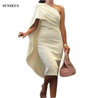 Sheath One Shoulder Bridesmaid Dress With Cape Back Simple Tea Length Wedding Party Gowns BDS009