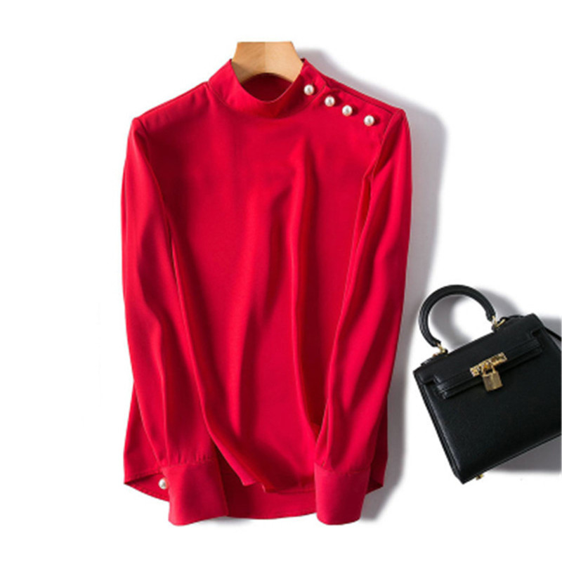 Polyester Spandex Blend Women New Fashion Tshirt Stand Collar Pearl Buckle Shoulder SL Retail